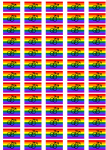 Gay Male Pride Flag Stickers - 65 per sheet